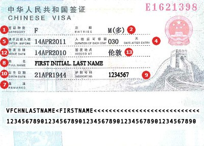 China Visa Sample