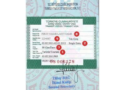 turkey visa sample