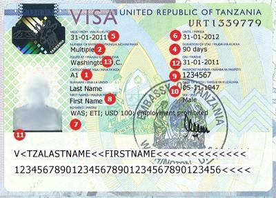 Actual travel visas samples tanzania visa sample altavistaventures Image collections