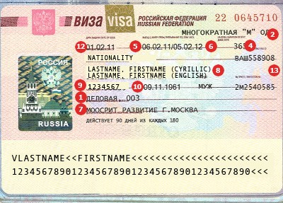 Russia Visa Sample